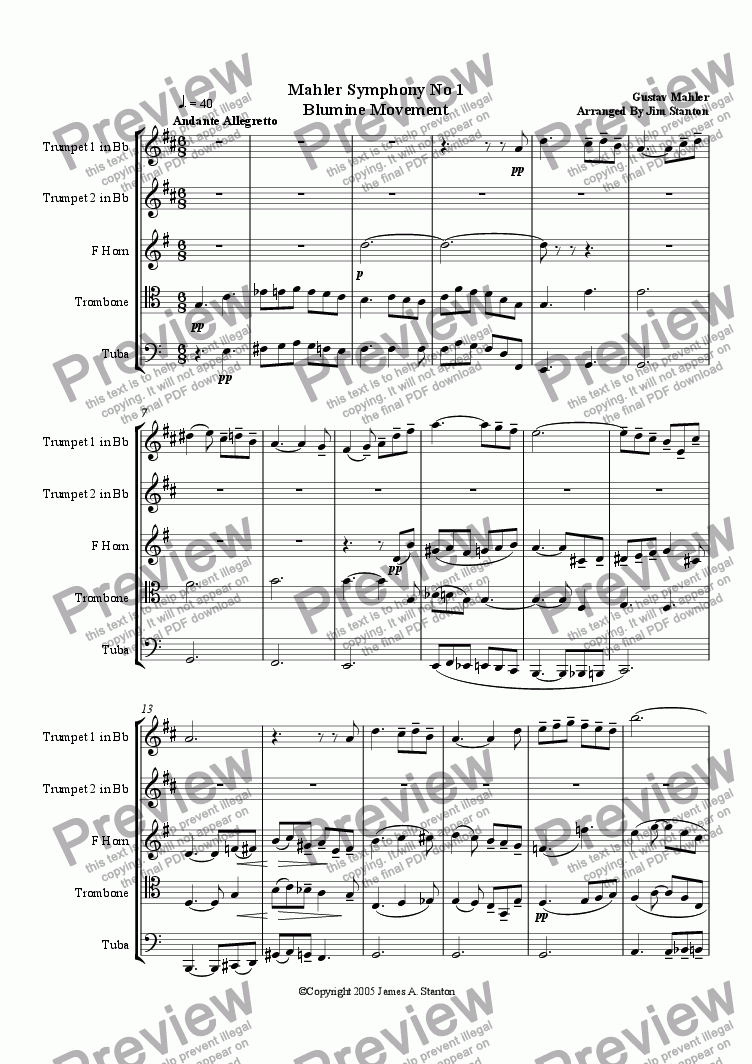 page one of Mahler - Blumine Mvt from Sym No 1 for Brass QuintetASALTTEXT