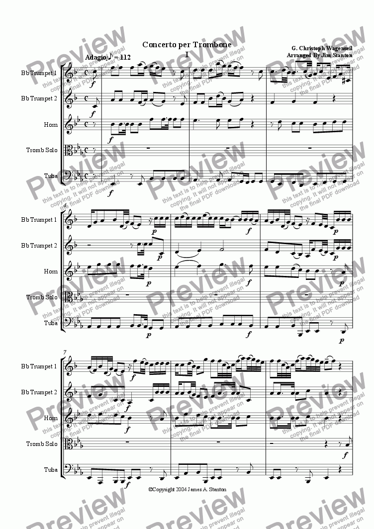 page one of Wagenseil  - Concerto for Trombone - Brass Quintet