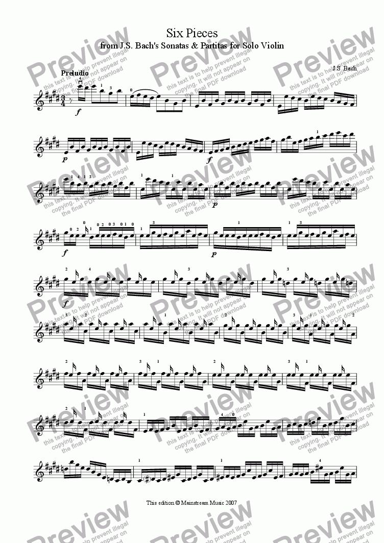 page one of Six Pieces from Bach's Sonatas & PartitasASALTTEXT