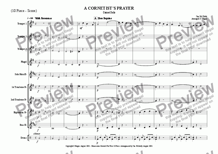 page one of A Cornetist's Prayer (10 Piece)