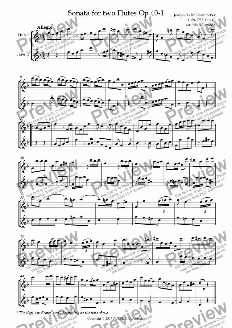 page one of Sonata (Duet) for two Flutes Op.40-1