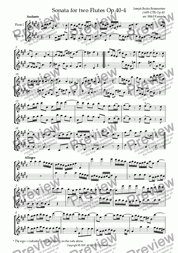 page one of Sonata (Duet) for two Flutes Op.40-4
