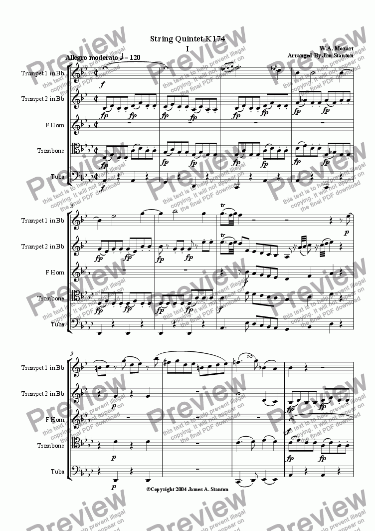 page one of Mozart Quintet K 174 Mvt 1 for Brass Quintet