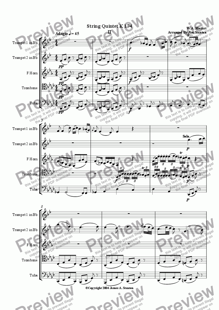 page one of Mozart Quintet K 174 Mvt 2 for Brass Quintet