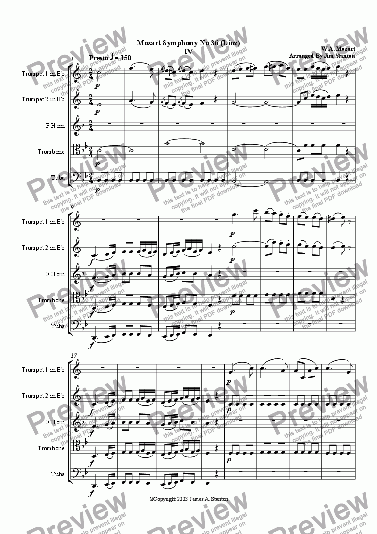 page one of Mozart Symphony No 36 Mvt 4 for Brass Quintet