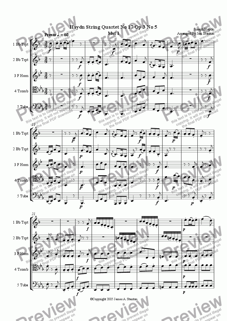 page one of Haydn Quartet No 17 Opus 3 for Brass Quintet
