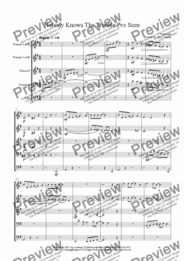 page one of Nobody Knows The Trouble I've Seen (brass quintet)