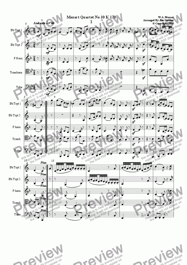 page one of Mozart - Quartet No 10 K 170 for Brass QuintetASALTTEXT