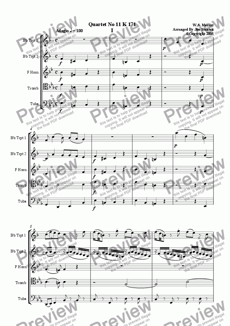 page one of Mozart - Quartet No 11 K 171 for Brass Quintet