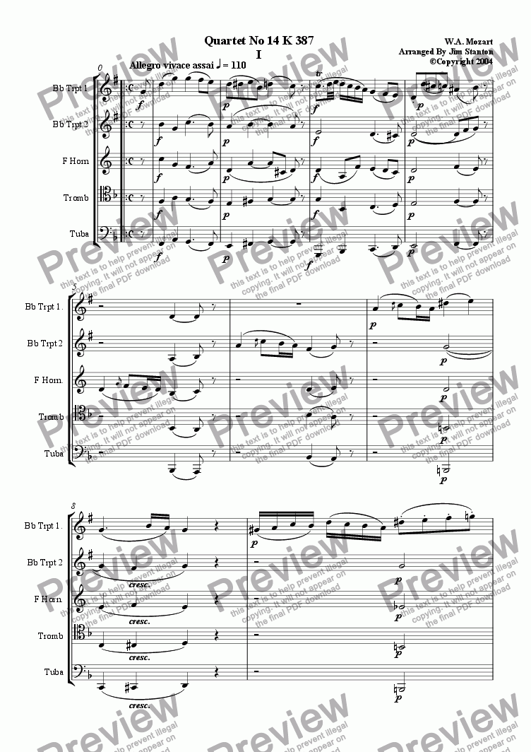 page one of Mozart Quartet No 14 K 387 for Brass Quintet