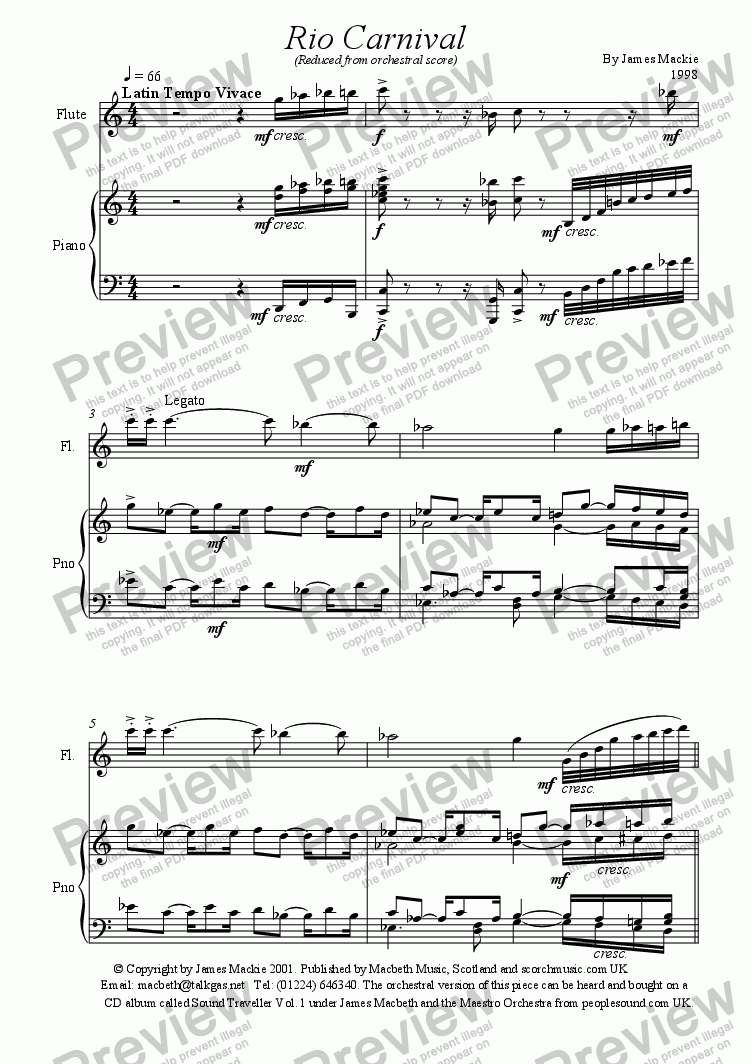 page one of Rio Carnival (Flute + Piano)