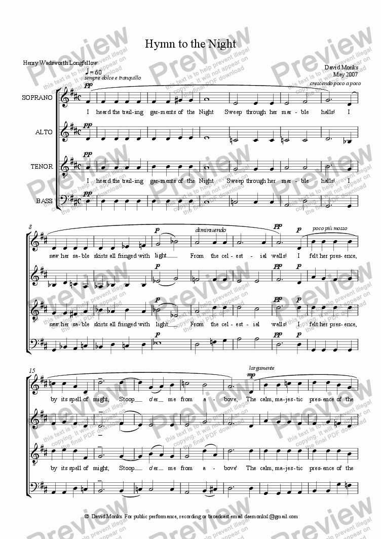 page one of Hymn to the Night    SATB (Revised)