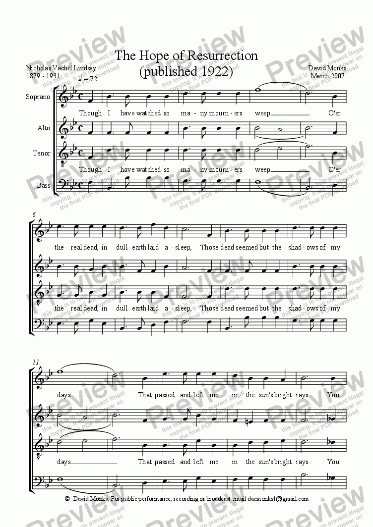 page one of The Hope of Resurrection -  SATB