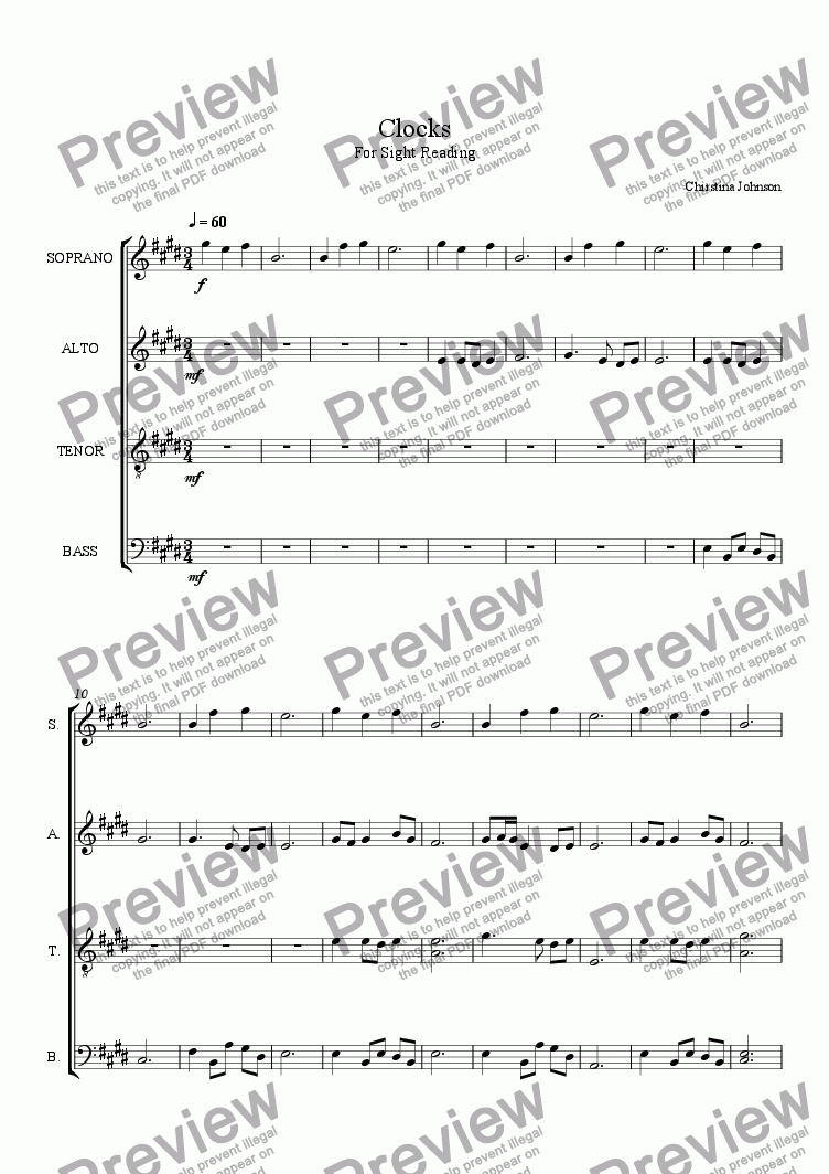 page one of Clocks [ - For Sight Reading - ]