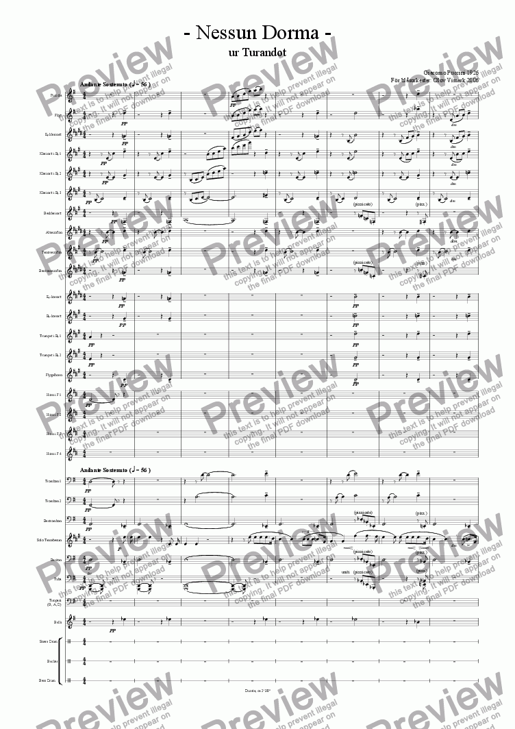 page one of Nessun Dorma - Solo and Wind Orchestra