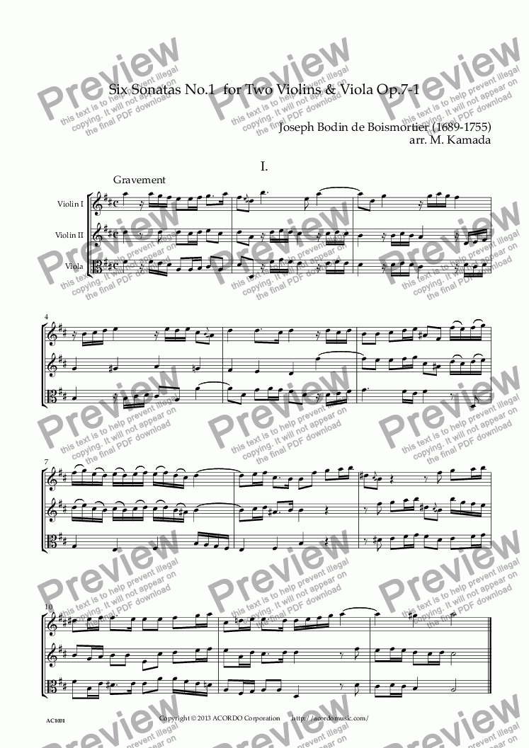 page one of Six Sonatas No.1 for two Violins & Viola Op.7-1