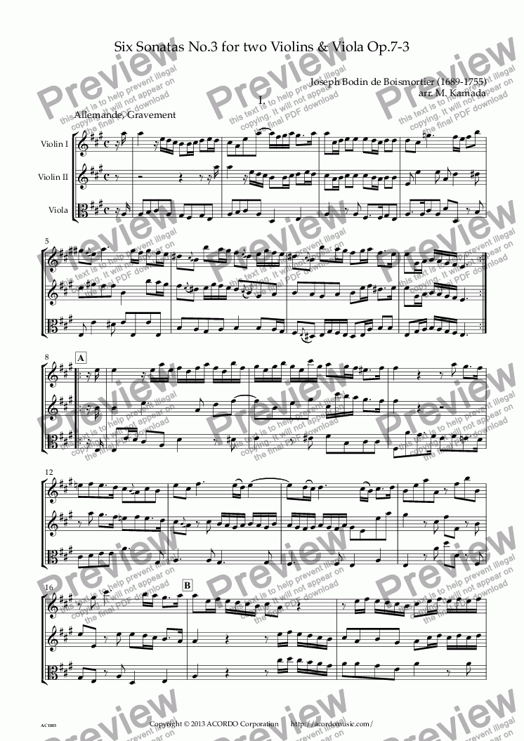 page one of Six Sonatas No.3 for two Violins & Viola Op.7-3
