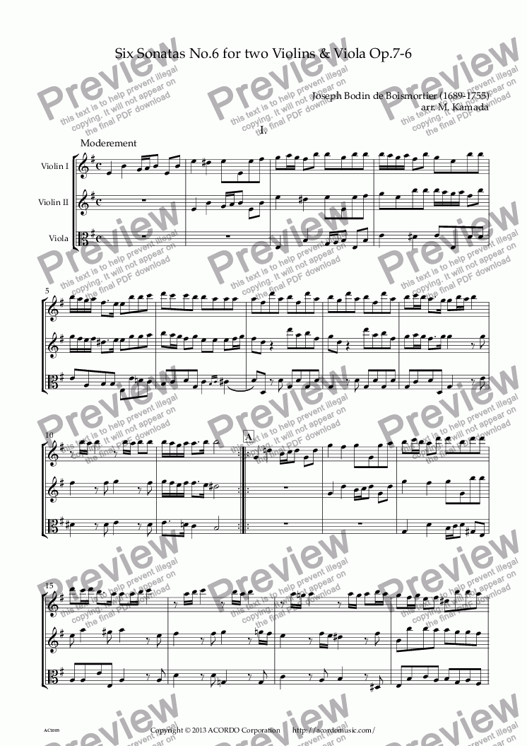 page one of Six Sonatas No.6 for two Violins & Viola Op.7-6
