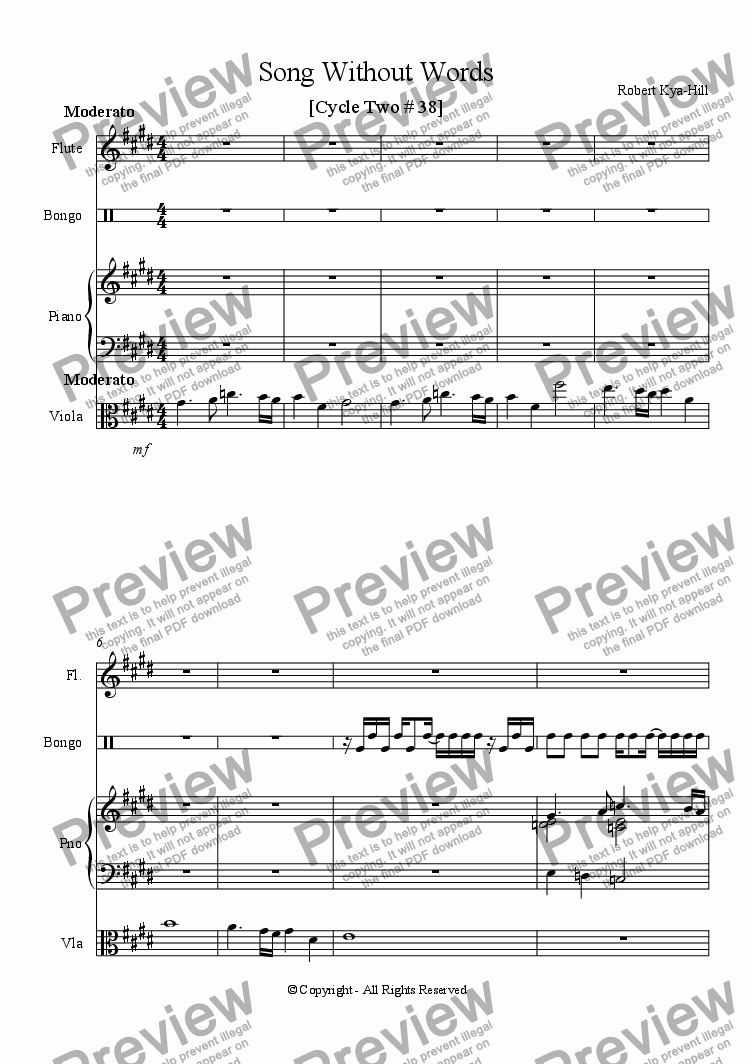 page one of Song Without Words [Cycle Two # 38] [Mixed Ensemble]ASALTTEXT