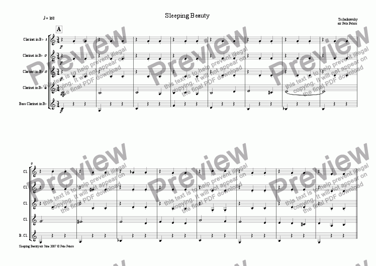 page one of Sleeping Beauty Waltz [Clarinet 5tet]