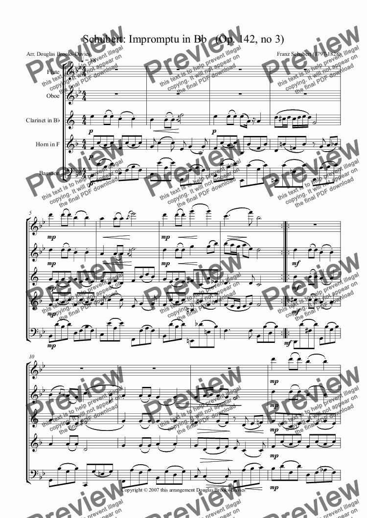 page one of Schubert: Impromptu in Bb   (Op. 142, no 3) for Wind Quintet