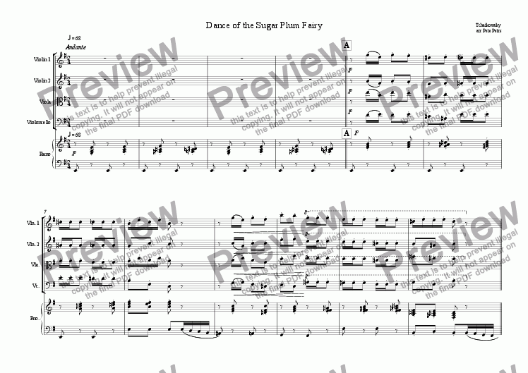 page one of Dance of the Sugar Plum Fairy [String 4tet +piano]