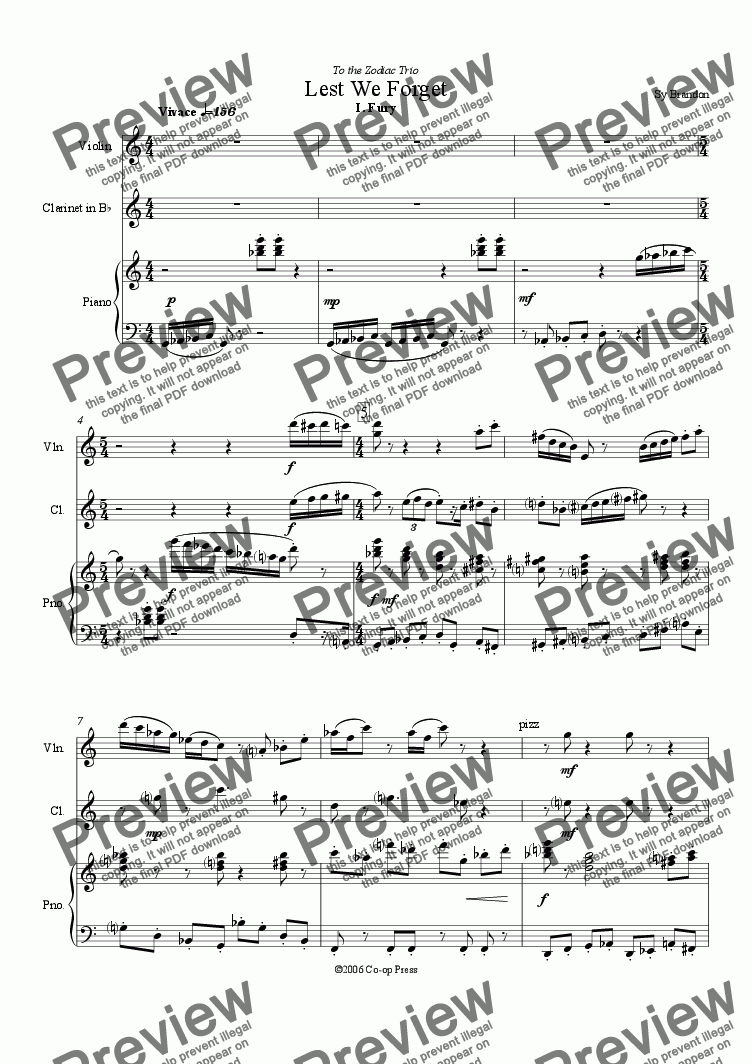 page one of Lest We Forget for Bb Clar., Violin and PianoASALTTEXT