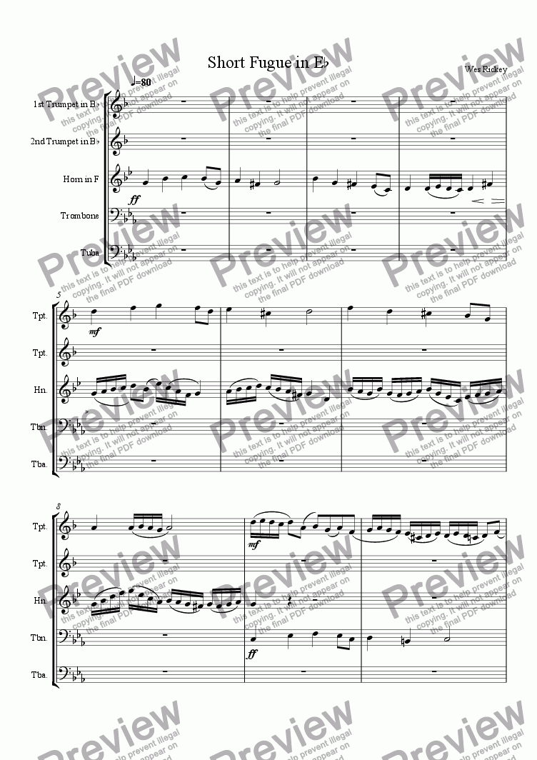 page one of Short Fugue in Eb minor
