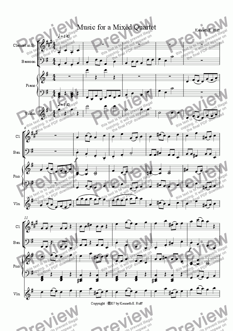 page one of Music for a Mixed Quartet