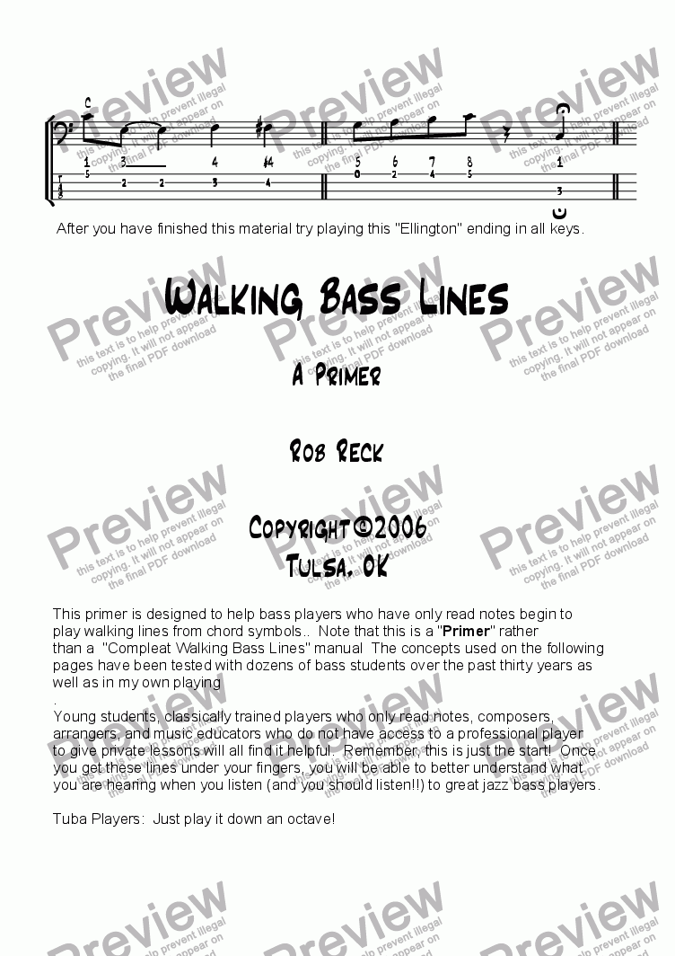 page one of Walking Bass Lines Primer (Revised)