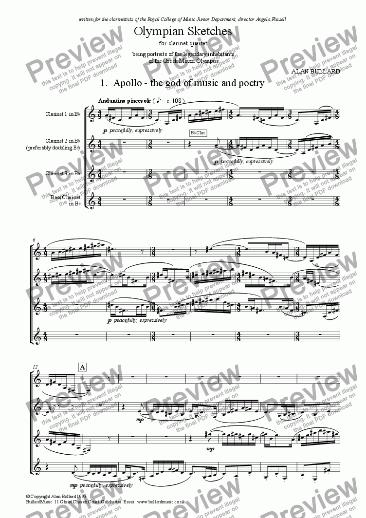page one of Olympian Sketches for Clarinet Quartet (score)
