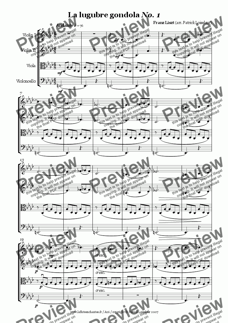 page one of Liszt: La lugubre gondola No. 1 for string quartet