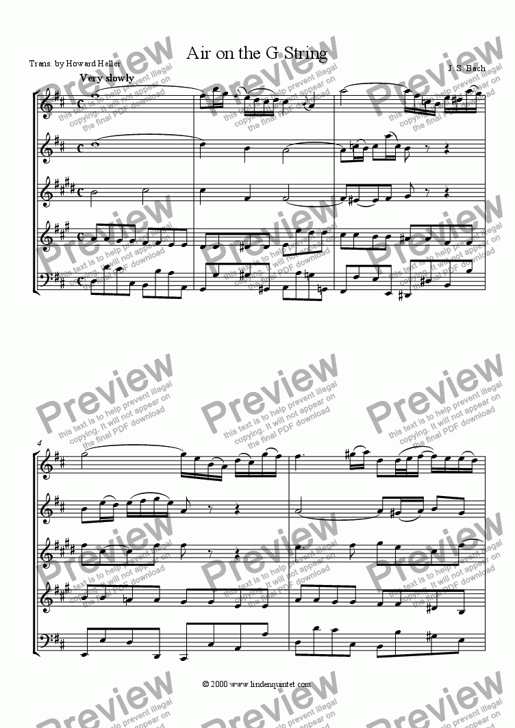 page one of Bach - Air on the G String (from Orchestral Suite No. 3 in D major, BVW 1068)