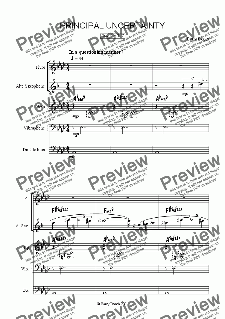 page one of Principal Uncertainty (alto sax & flute)
