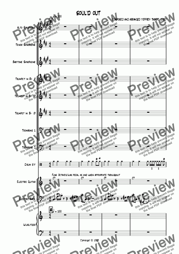 page one of Soul'd Out - (alternate arrangement)