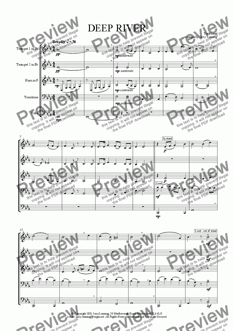 page one of Deep River (brass quintet)