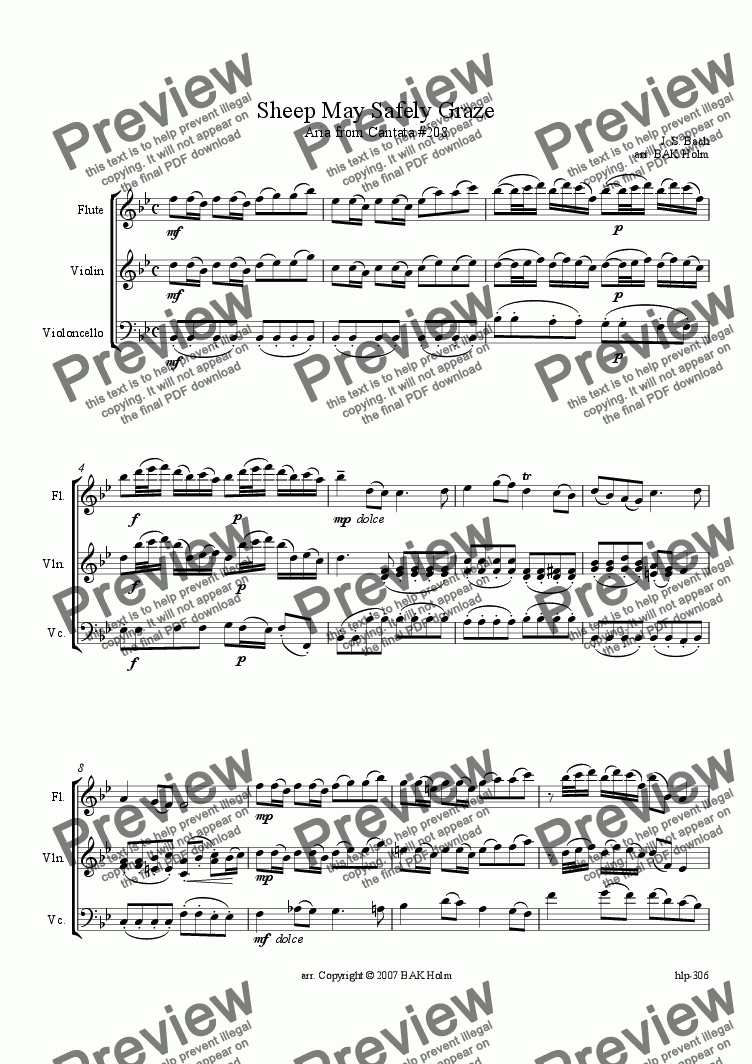 page one of Sheep May Safely Graze (flute, violin, cello)