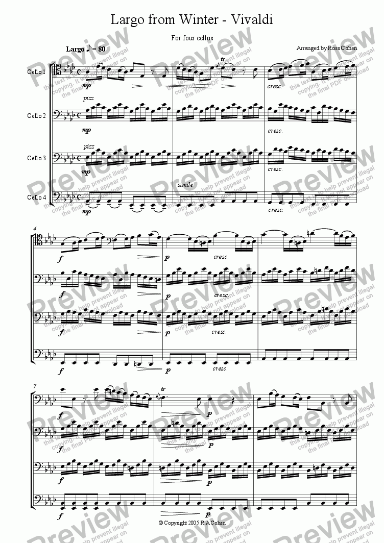 page one of Vivaldi - LARGO FROM WINTER - for cello quartet