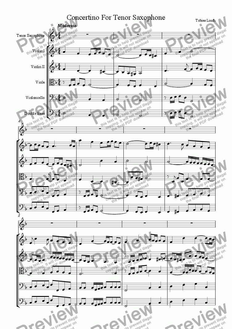 page one of Concertino For Tenor SaxophoneASALTTEXT