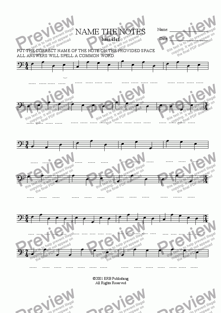 page one of Note Name Review - Bass