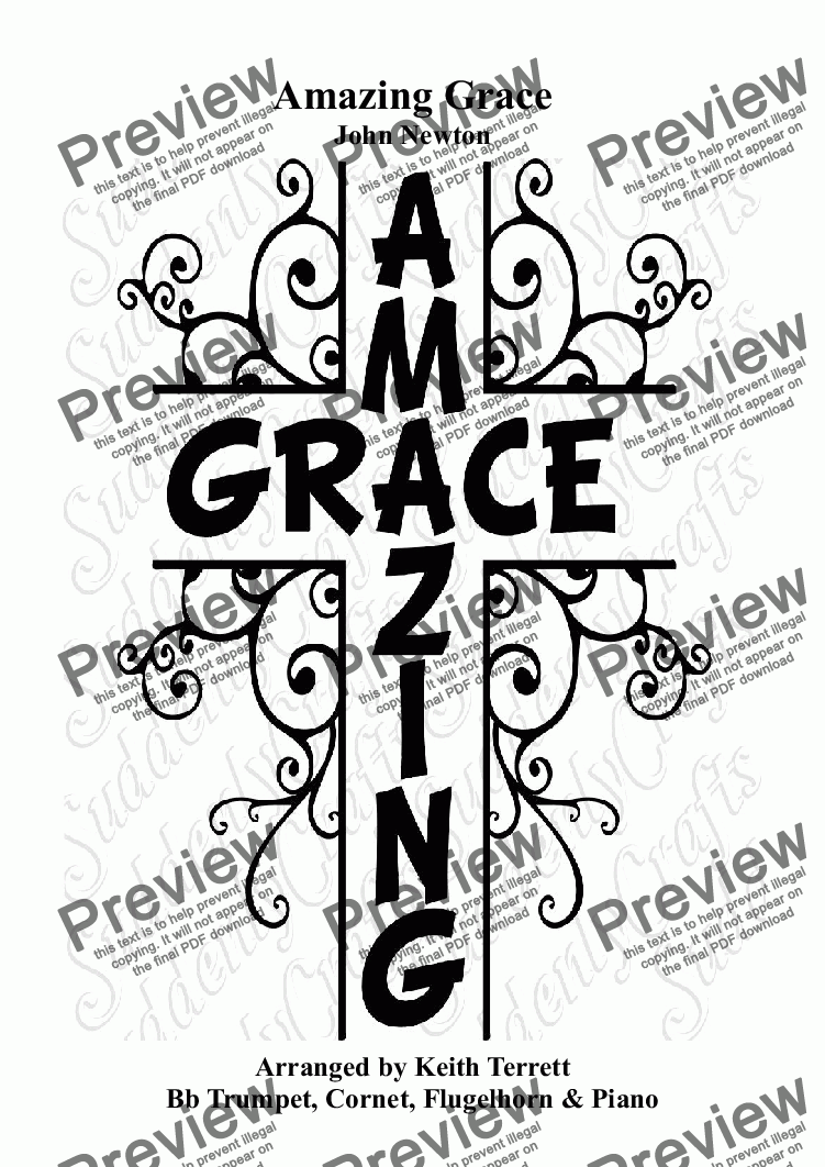 page one of Amazing Grace for Bb Trumpet/Cornet /Flugelhorn & Pianoforte