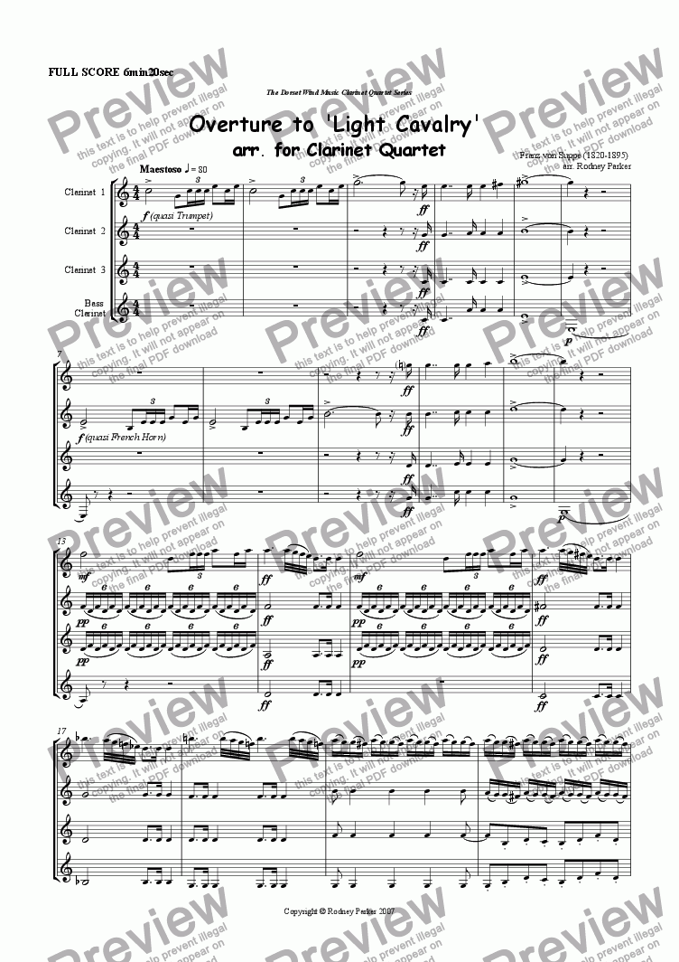 page one of Overture to 'Light Cavalry' arr. forClarinet QuartetASALTTEXT