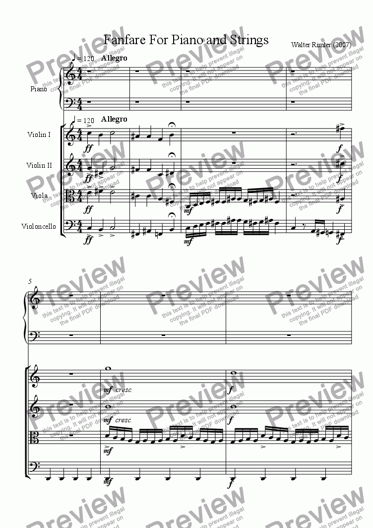 page one of Fanfare For Piano And Strings