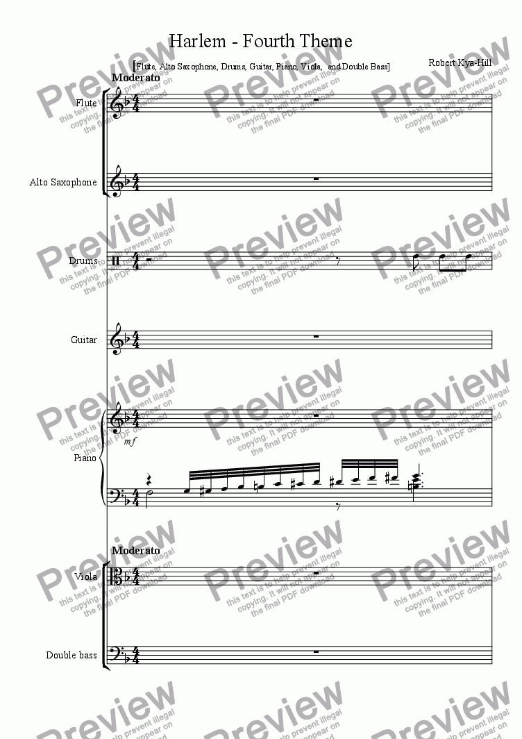 page one of Harlem - Fourth Theme [ Flute, Alto Saxophone, Drums, Guitar,  Piano, Viola, Double Bass]