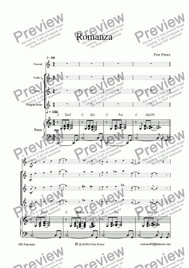page one of Romanza [rec 5tet+Piano]ASALTTEXT