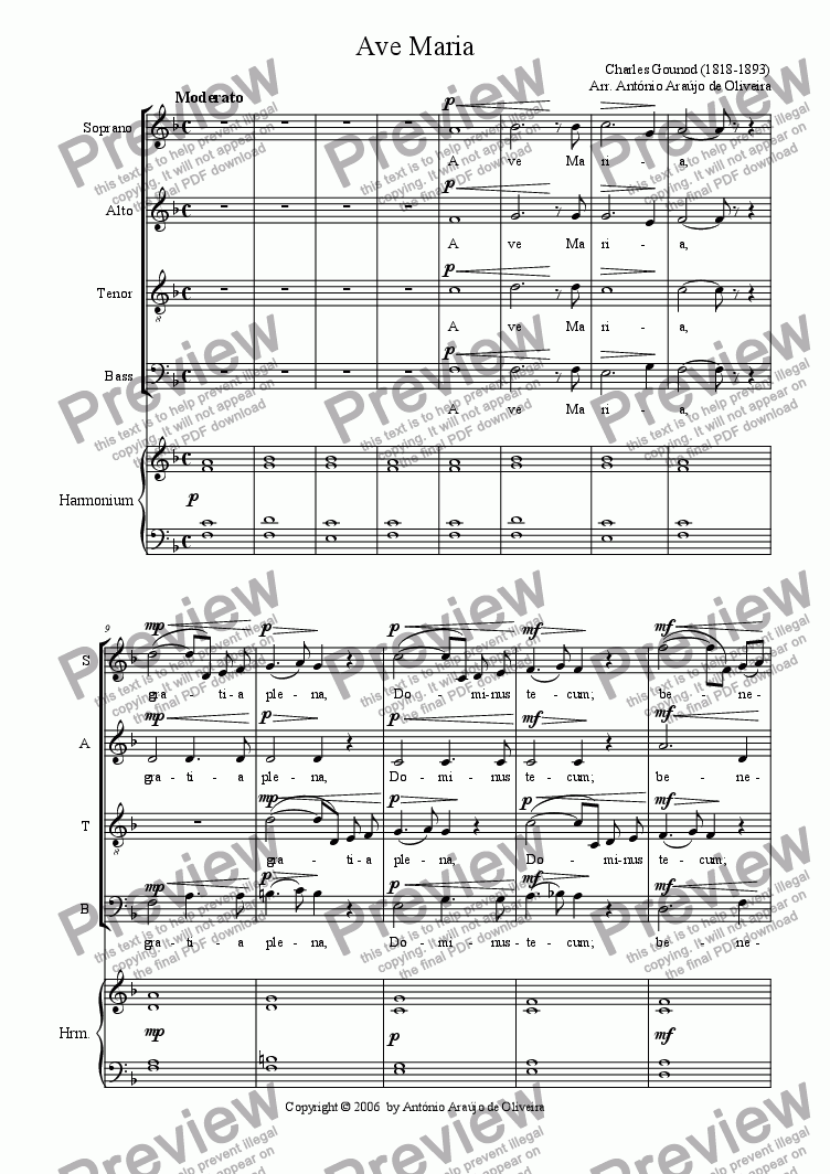 page one of Ave Maria (Gounod) - easy version