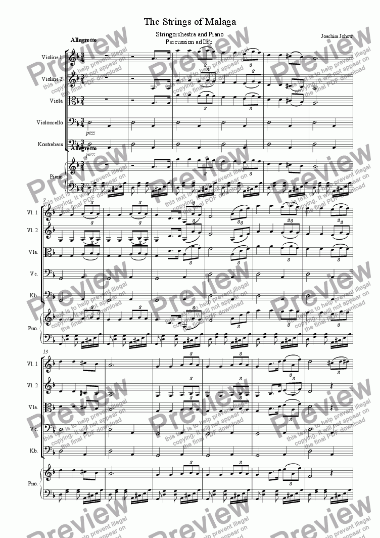 page one of The Strings of Malaga (Strings and piano)ASALTTEXT