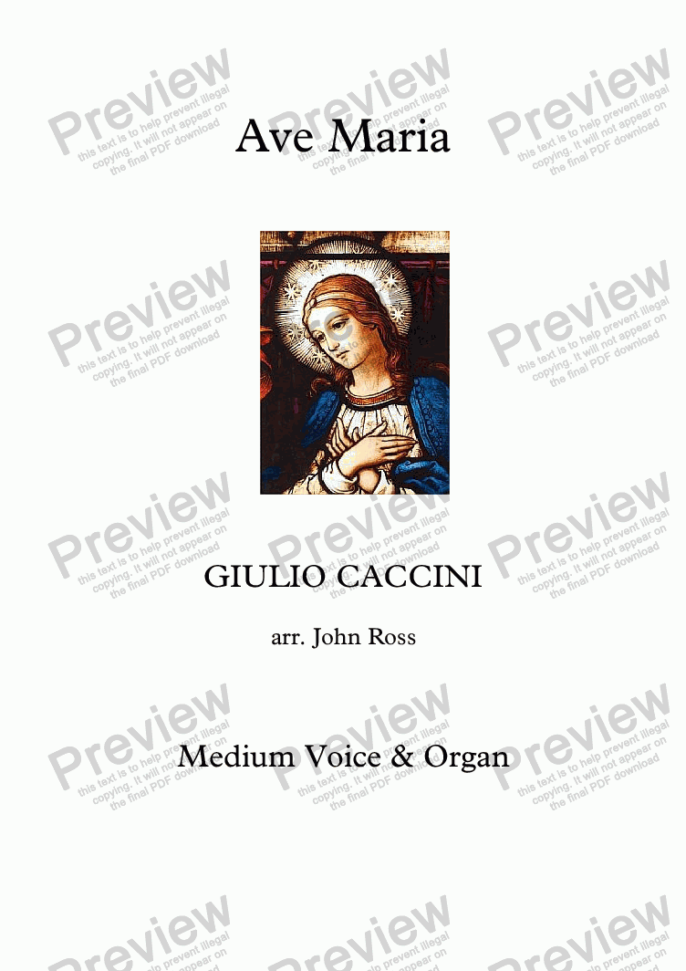 page one of Ave Maria (Medium voice, Organ)