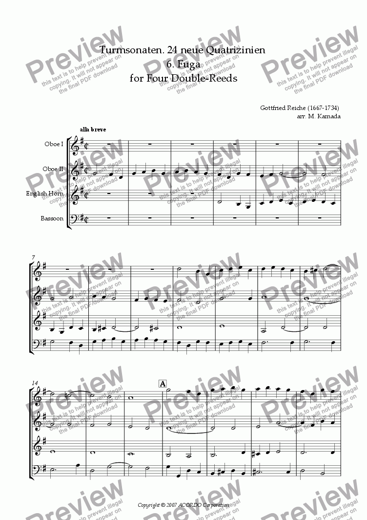 page one of Turmsonaten. 24 neue Quatrizinien 6. Fuga for Four Double-Reeds