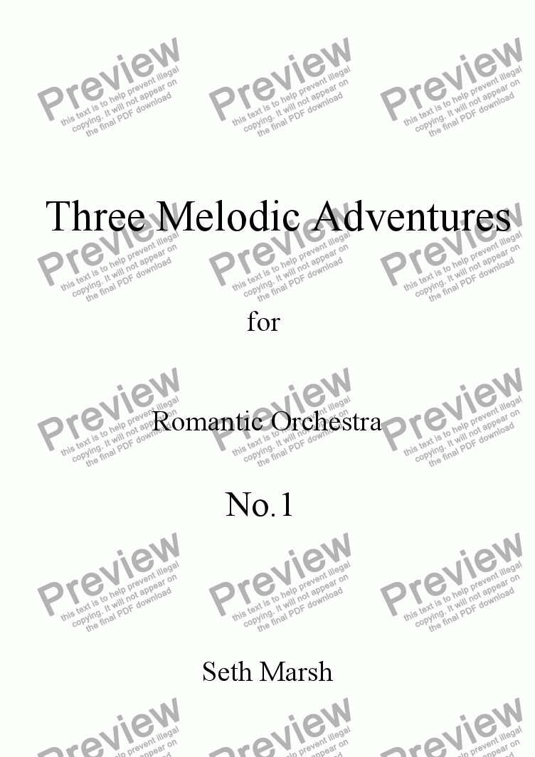 page one of Three Melodic Adventures - No.1